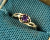 Vintage 14K Yellow Gold Amethyst Filigree Ring Size 3