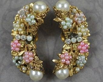 Vintage Golden Filigree Pastel Pearl Rosette Rhinestone Curved Clip On Earrings