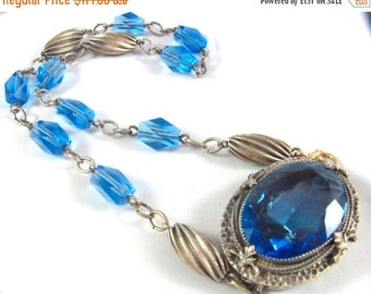 Scorpio Birthday SALE Beautiful Art Nouveau Art Deco Blue Crystal Silver Vintage Necklace