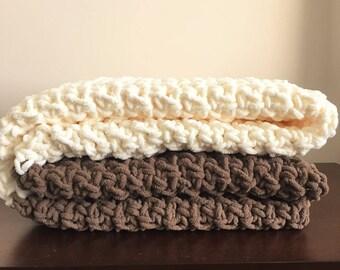 Chunky Crochet Blanket in Fisherman Cream and Chocolate Brown