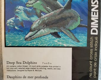 Dimensions Deep Sea Dolphins Cross Stitch Kit Unopened