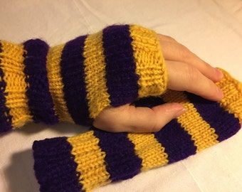 Huskies Purple & Yellow Gold Striped Fingerless Gloves – Hand knitted