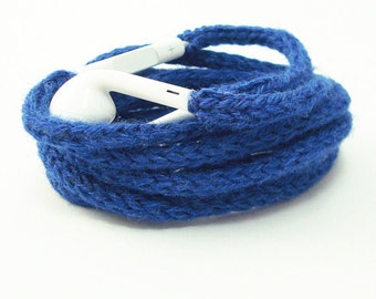 Tangle Free Knit Apple Earpods in Cheerful Blue