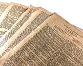 """50 Antique Bible Pages. Early 1900s. Dark- Heavily Aged- Small Vintage Bible Pages. Book Pages. Altered Art, Collage, Mixed Media 5.25x4"""""""