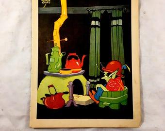 Antique Elf Print. 1930s Children's Book. Tinker Tim. Vernon Grant. Pixie, Elf House. Whimsical, Fantasy Book Page to Frame. Ephemera