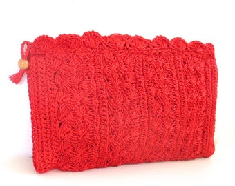 Vintage Cherry Red Crochet Clutch // Made in Japan
