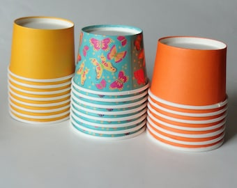 1 Set of Party Cups/Bowls - Butterflies Orange Yellow- Butterfly Ice Cream Cups Dessert Bowls, Baby Shower, Kids Birthday, Tea Party, Straws