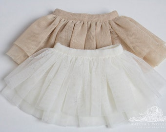 Soft tulle mesh skirts for Mini Super Dollfie MNF Minifee Moe A-line Fairyland MSD Volks Bluefairy