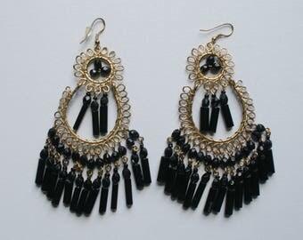 Gold Plated Earrings Coil Earrings Pierced Earring Dangle Earrings Black Dangle Earrings