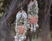 Winter romance earrings--bold romantic bohemian earrings, hand embroidered