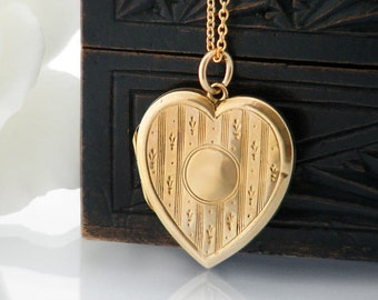 Antique Locket | Edwardian Heart Locket Necklace | 9ct Gold Front & Back Photo Locket | Large Gold Heart Locket, Bridal Gift - 20 inch Chain