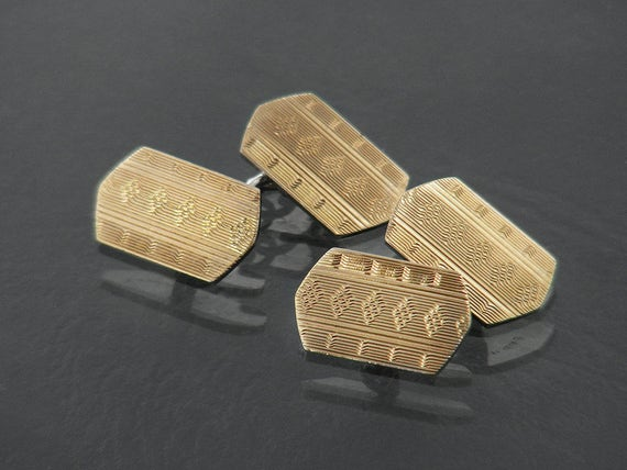 Vintage Cufflinks | Art Deco Cuff Links | English 9ct Gold on Sterling Silver 1930s | Hexagonal Gold Cuff Links | Geometric Machined Pattern