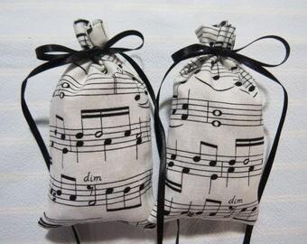 """Ivory 4""""X2"""" Sachet-'Raspberry Delight' Fragrance-Black Music Lines/Notes Unisex Sachet-Cotton Botanical/Herbal Sachet-Cindy's Loft-645"""