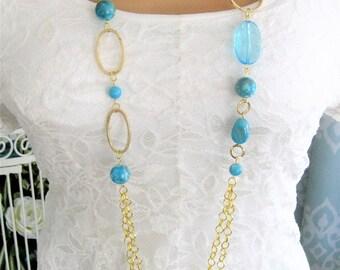 Blue Multi Strand Beaded Necklaces, Multi Strand Necklace, Long Chunky Necklace, Beaded Necklaces, Long Beaded Necklace, Bead Necklace, N906
