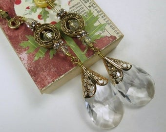 Decorative Chain Pull Pair for Ceiling Fans or Lamps with Leaded Crystal Teardrops and Gold Toned Accents