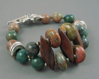 Jasper Bracelet, Picasso and Fancy Jasper Gemstone Beads Combined with  Cocobolo Wood Beads