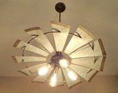 WINDMILL Chandelier LIGHTING Original Farmhouse EXCLUSIVE by LampGoods Ceiling Fixture Kitchen Island Vintage Industrial Shown wEdison Bulbs