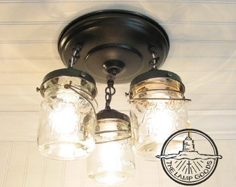 Mason Jar Ceiling Lighting Fixture Vintage Pint Trio - FLUSH MOUNT Farmhouse Pendant Chandelier Kitchen Island Pantry Rustic by LampGoods