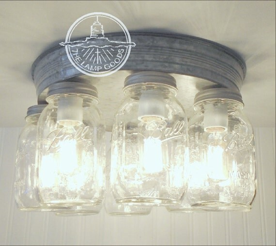 Rustic Ceiling Light Rustic Light Fixture Rustic Wood: Rustic Mason Jar CEILING LIGHT Fixture New Quarts 8-Light