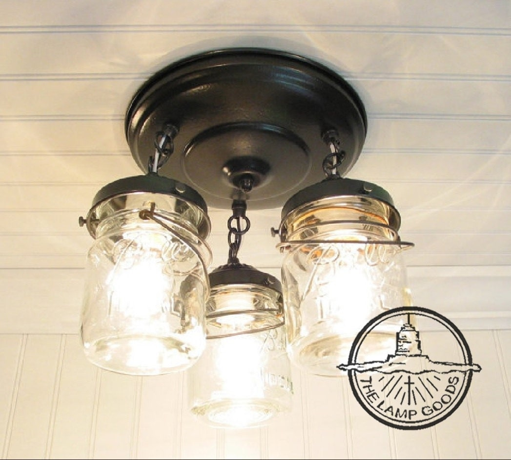 Mason Jar Ceiling Lighting Fixture Vintage Pint Trio FLUSH