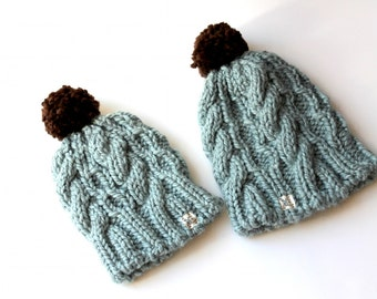 Big and Little Hats, Warm Beanie Hat, Mommy and Me, Winter Fashion, Warm Winter Hat, Pom Pom Hat, Chunky Knit Hat, Winter Wear, Hat Set