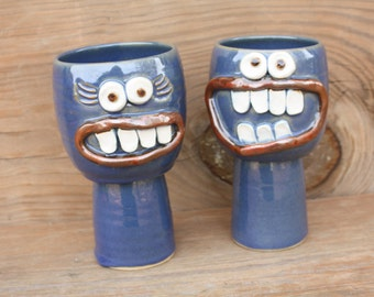 Fun Wine Glasses. Gifts for Couples Who Have Everything. Matching Goblet Set. Ceramic Wine Cups. Matching His Hers Christmas Gift Set. Blue.