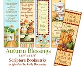 40% off DIGITAL Five Autumn Blessings Christian Bible Bookmarks Digital Printable INSTANT DOWNLOAD