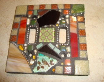 Whimsical MOSAIC LIGHT SWITCH Plate Cover - Double, Gold, Multicolored