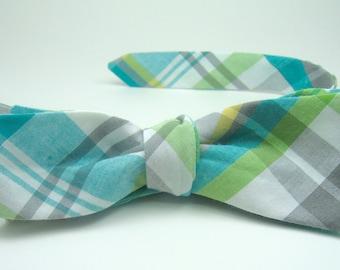Blue Plaid Bow Ties Aqua Bow Ties Blue and Green Bow Ties Mens Bow Ties Boys Bow Ties Wedding Bow Ties
