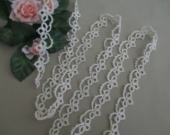 Vintage Tatted Lace Trim Antique Tatting Cotton Narrow