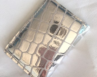 Metallic silver LEATHER card holder wallet silver leather card holder leather bi fold card holder leather business card holder ladies wallet