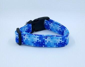 Put The Puzzle Pieces Together Blue Autism Awareness Dog Collar