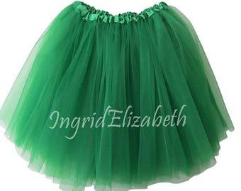 "Kelly Green XXL PLUS Adult Tutu / Size ""XL"" Tutu Skirt / Waist Stretch 20-42"" / Fash Shipping Child Plus Size Bachelorette Party"