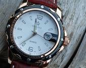 Luxury Black and Copper Wrist Watch - Brown Leather Wristband - Precision Quartz Watch - Steampunk - Men - Watch - Item QWA016
