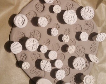 20 CLAY STAMPS!  - Bisque earthenware TEXTURE stamps for Clay, pmc, fimo, and more!  Nice variety of designs.  Great for adding details!