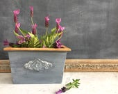 French Country Farmhouse Wood Planter  Box with Gray Zinc Color Finish and Natural Wood