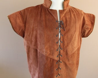 """Chest 52""""  Rust Suede Tudor Renaissance Medieval Mens Lords Doublet Game of Thrones Jacket"""