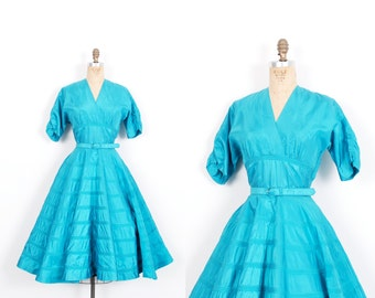 Vintage 1950s Dress / 50s Teal Taffeta Party Dress / Blue ( small S )
