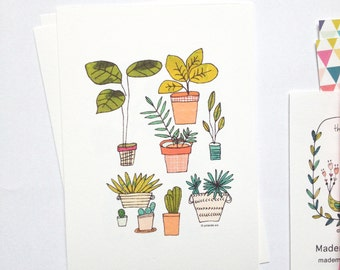 House plants cards, art print, plants, cactus, monstera, pileas, urban jungle illustration, set of 4 cards