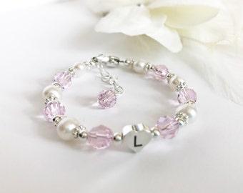 Baptism Bracelet - Flower Girl Bracelet - Pearl and Crystal Bracelet - First Communion Bracelet - Pearl Bracelet - Initial Bracelet B245