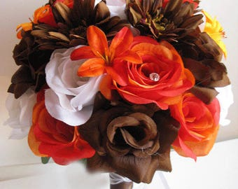 """Reserved listing Wedding bouquet Bridal Silk flowers ORANGE BROWN DAISY Lily Chocolate 15 piece package set  """"RosesandDreams"""""""
