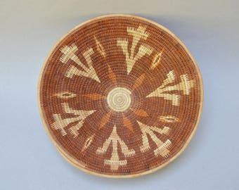 Vintage Southwestern Woven Basket . Nice colors . Small Dome Basket