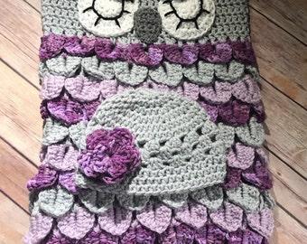BABY COCOON and Cap PATTERN - Owl Pattern Sleeping Sac - Owl and Hat Set Pattern -Owl Photo Prop - Crochet Pattern - Newborn Photos