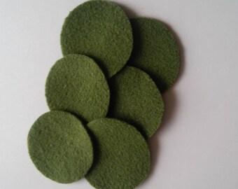 """50 1&1/2"""" PEAPOD Wool penny rug circles"""