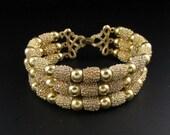 Trifari Gold Bead Bracelet, Early Trifari Bracelet, Gold Bracelet, Trifari Bracelet, Textured Bracelet, Multi Strand Bracelet