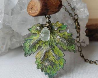 Woodland Green Patina Leaf  Necklace with Mini Log Bead & Lemon Quartz Dew Drop