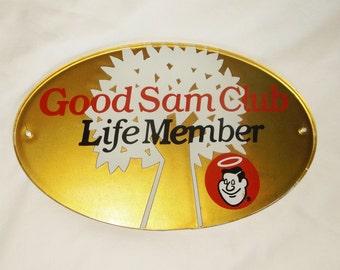 Vintage GOOD SAM CLUB Life Member Plaque • 11 inches