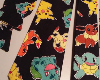 Pokeman Neckties in bow tie, skinny tie or standard tie styles and kids or adult sizes