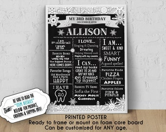 """PRINTED Birthday Poster, 11"""" x 14"""", 16"""" x 20"""", 18"""" x 24"""", Winter Snowflakes, Silver or Gold Color Scheme, Chalkboard Look, Ready to Frame"""
