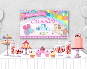 """Vinyl Welcome Banner, 36""""x20"""", 48""""x30"""", Magical Unicorns, Hearts, Rainbow Colors, Baby or Bridal Shower,  Birthday Party, Table Backdrop"""